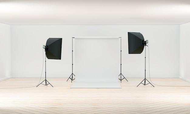 Photography studio studio white blank background with soft box light camera tripod and backdrop