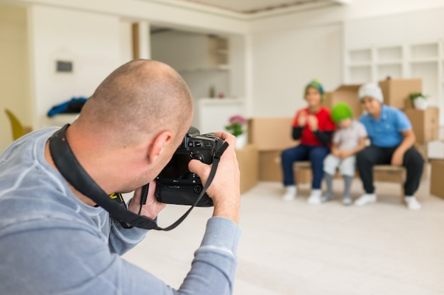 Photoshooting with kids models at studio as new home