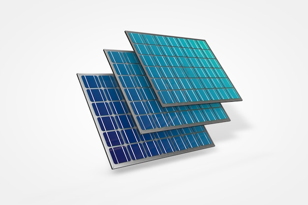 하늘과 흰색 배경 3d 그림에 태양광 태양 전지 패널
