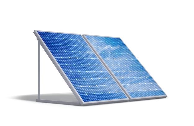 흰색 배경에서 격리된 태양광 태양 전지 패널