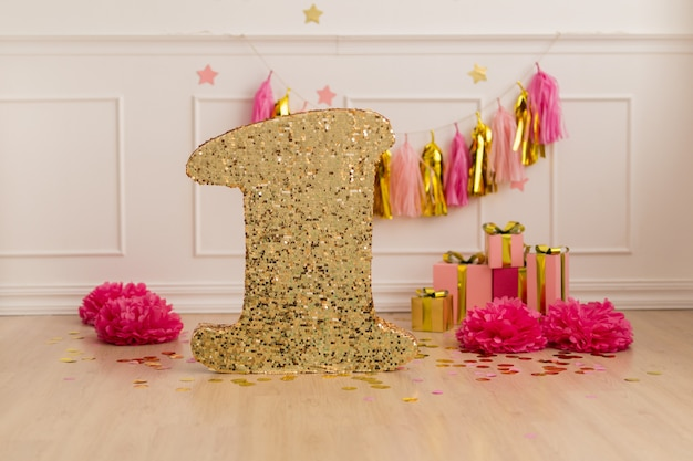 Photozone happy birthday, festive decor with confetti