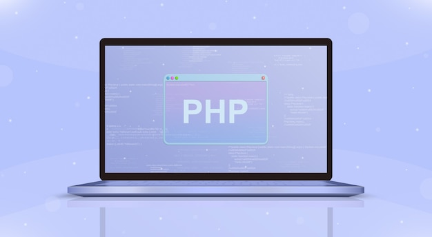 Значок php на экране ноутбука вид спереди 3d