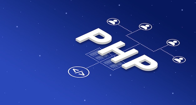 Php programming language system with user icons 3d