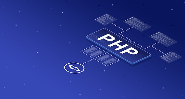 Php on smart screen in the system with with elements of program code 3d
