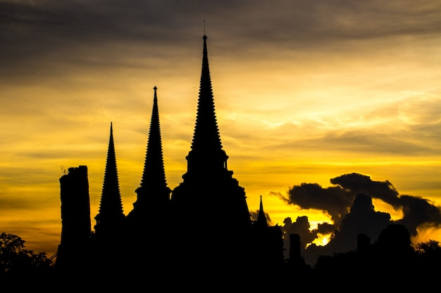 Phra sri sanphet temple in the evening in ayutthaya, thailand