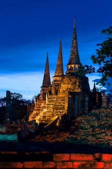 Phra sri sanphet temple in the evening in ayutthaya, thailand