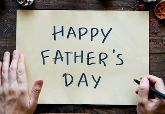 フレーズハッピー父の日、黄色の紙