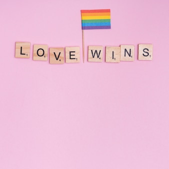 Phrase love wins and lgbt flag