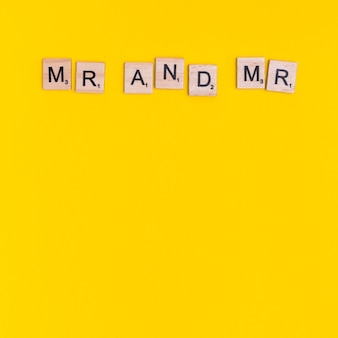 Phrase mr and mr on wooden squares