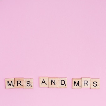 Phrase mrs and mrs on wooden squares
