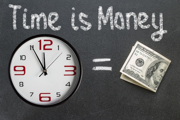 The phrase time is money written on a blackboard with a clock and dollar bill