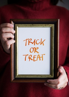 Phrase Trick or Treat in a frame