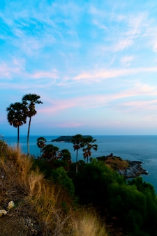 Phromthep cape viewpoint with beautiful sunset twilight sky in phuket, thailand
