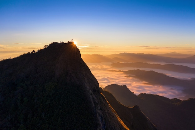 Phu chi dao at sunrise in chiang rai, thailand