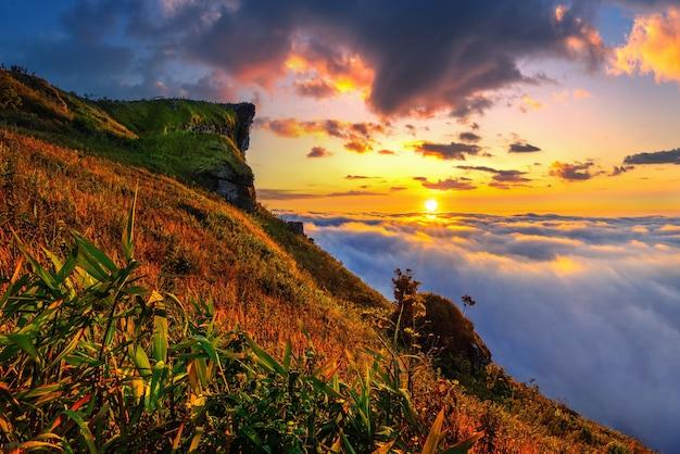 タイ、チェンライ県の日の出のプーチーファーと霧