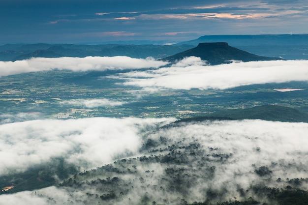 タイ、ロイ県、phu-luangの高山に霧の風景の海。