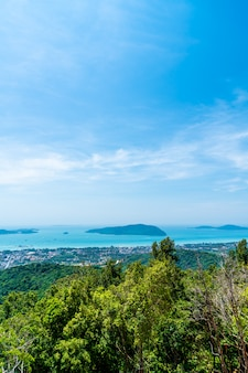 Phuket city skyline with sea beach