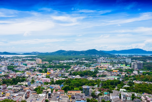 Phuket town top view from rang hill