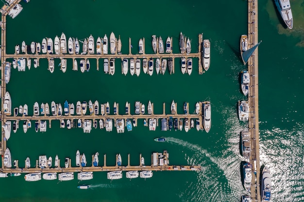 Phuket yacht pier on the green sea thailand