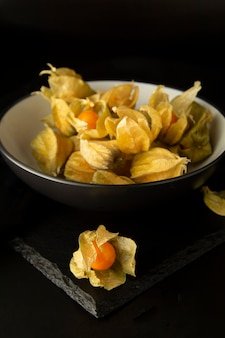 Physalis flowers, fruits isolatedin black plate, on a black background.