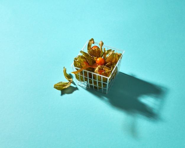 影の反射とプラスチックバスケットの殻を持つホオズキの果実