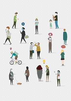 Physical distancing in public area social template illustration
