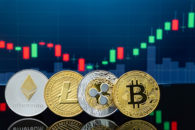Physical metal bitcoin coins with global trading exchange market price chart in the background.