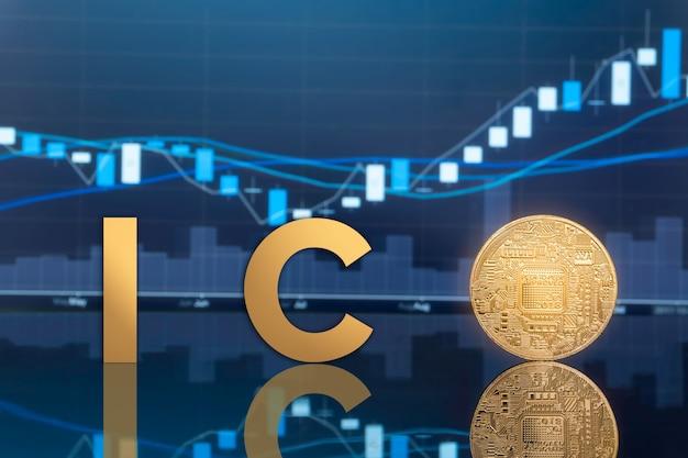 背景に青いグローバル取引所市場価格チャートを備えた物理的な金属デジタルコイン。