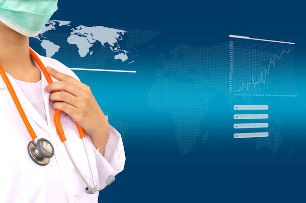 Physician with stethoscope and virtual screen background