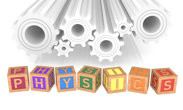 Physics alphabet blocks and gear. isolated on white. 3d rendering