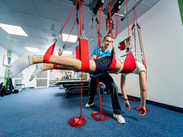 Physiotherapy. suspension training therapy