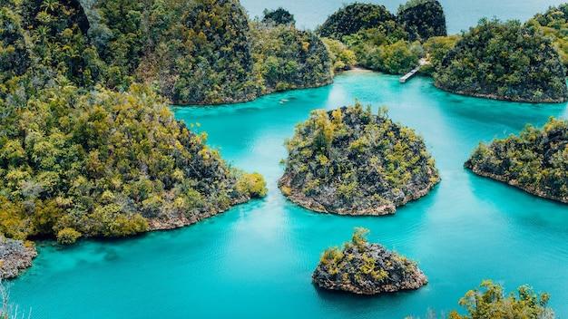 ピアネモ諸島、グリーンカルスト石灰岩のあるブルーラグーン、ラジャアンパット、西パプア。インドネシア。
