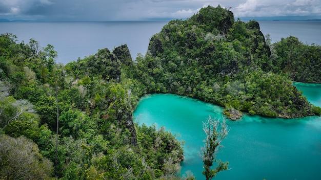 ピアネモ諸島、グリーンロックのあるブルーラグーン、ラジャアンパット、西パプア。インドネシア。
