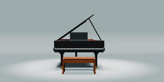 Фортепиано и стул на белом фоне 3d иллюстрация