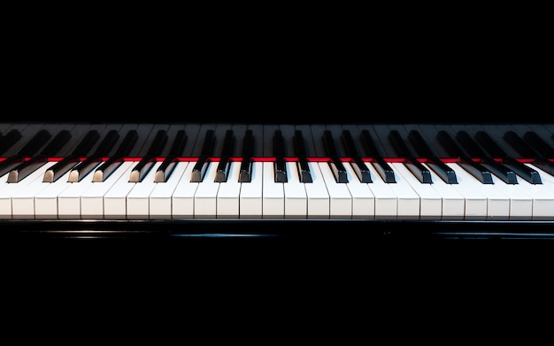 Piano background with selective focus