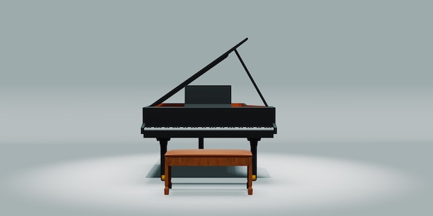 Piano and chair on a white background 3d illustration