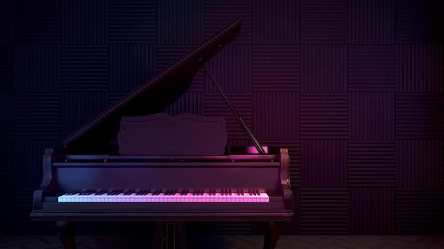 어쿠스틱 보드가있는 연습실의 피아노