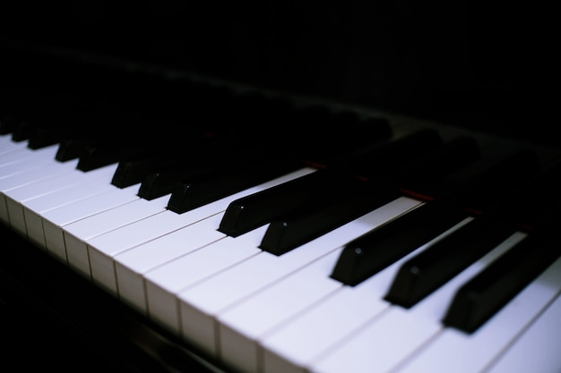Piano keyboard background with selective focus.