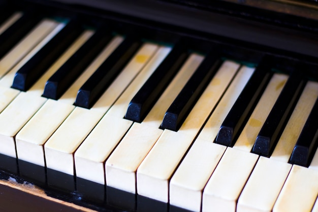 Piano keyboard, black and white key, close-up and macro, retro and vintage piano, music instrument