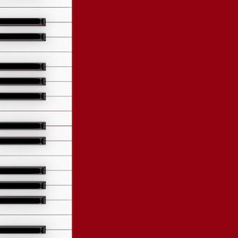 赤い背景の上のピアノキーボードのクローズアップ。 3dレンダリング