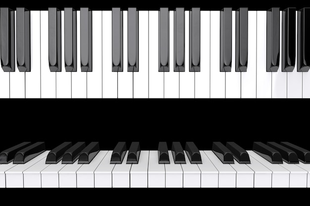 黒の背景にピアノの鍵盤のクローズアップ Premium写真