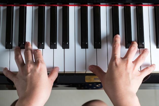피아노 키, 악기 악기의 측면 보기.