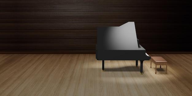 ステージの木の床と照明の3dイラストのピアノ