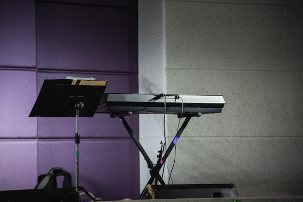 Piano on the stage at the party