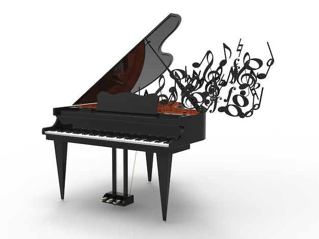 Piano with flight of music notes