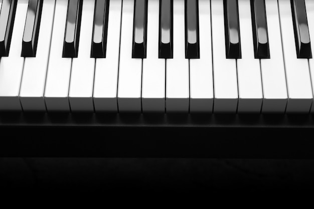 Piano with white and black piano keys