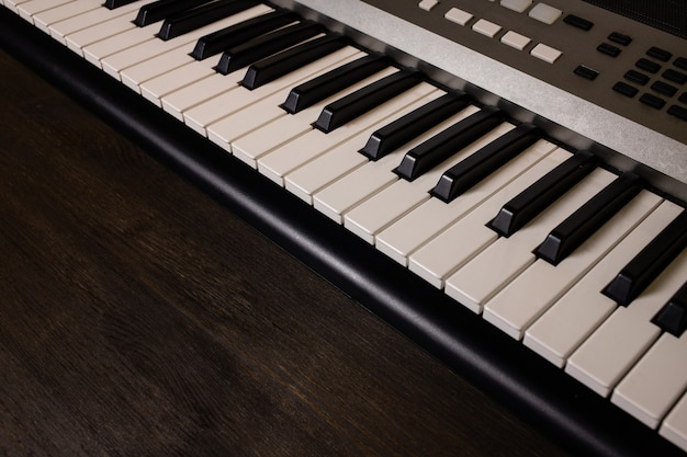 Piano on a wooden table