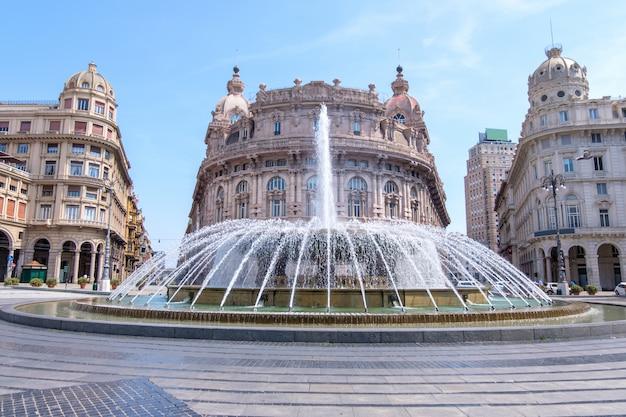 Piazza de ferrari fountain with buildings in genoa