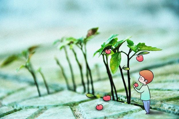 Picking apple: creative photography illustration mixed