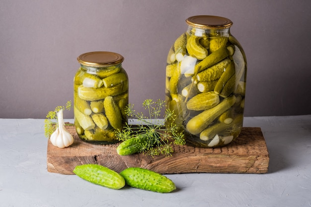 Pickled cucumbers in the jar ingredients for pickling cucumbers cucumbers dill garlic glass jar
